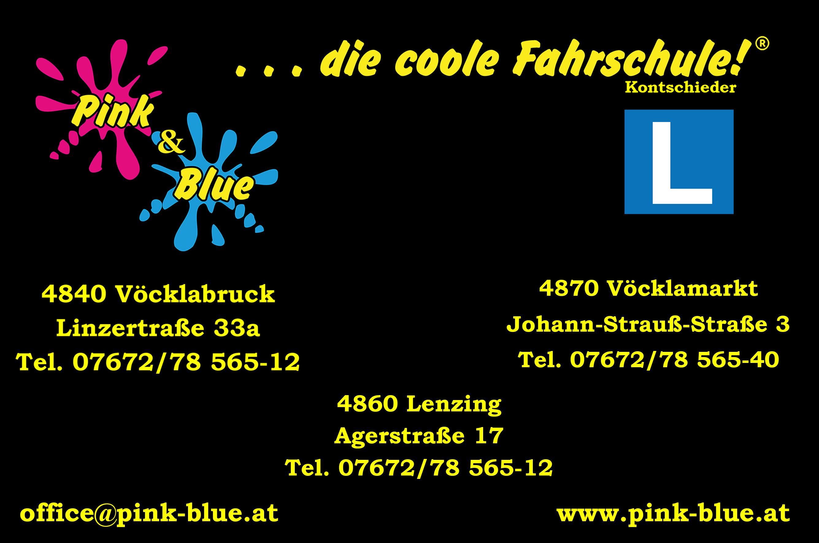 Pink & Blue die coole Fahrschule Josef Kontschieder, Oberndorfer & Oberndorfer KFZ GnbR